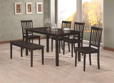 bench seat dining set rich cappuccino finish modern 6pc dining set w bench chairs