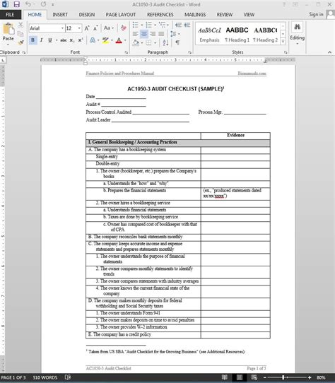 financial audit checklist template ac1050 3