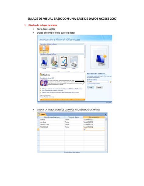 conectar base de datos de access accdb con excel enlace de visual basic con una base de datos access 2007