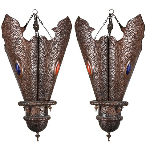 Handcrafted Metals - pair of moroccan handcrafted metal chandeliers