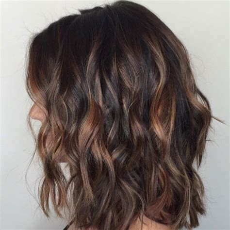 short hair cuts with dark brown color with carmel highlights top balayage for dark hair black and dark brown hair