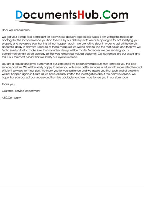 Business Apology Letter Delay Shipment sle apology email