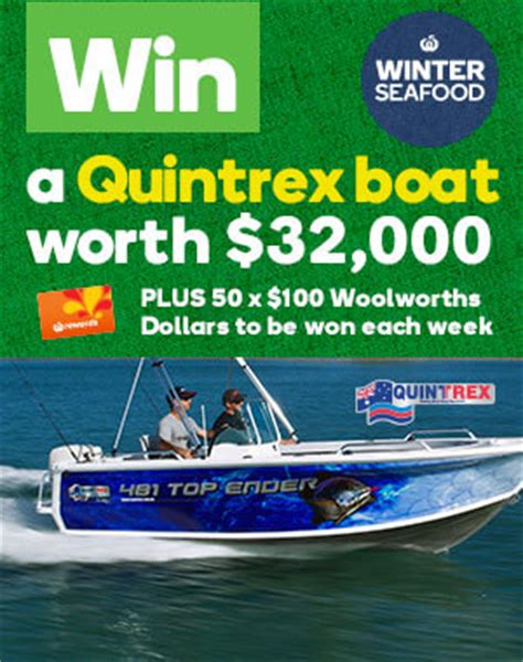 boat us rewards woolworths rewards winter seafood win 1 of 5 quint