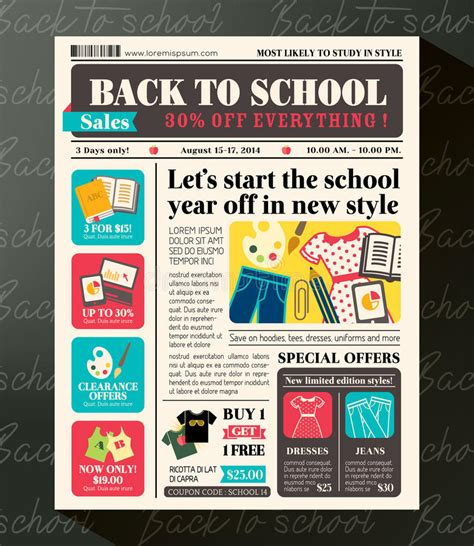 sle of a news report back to school sales promotional design template in
