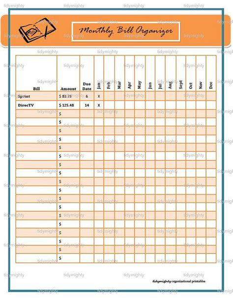 download printable organizer free printable monthly bill payment worksheet search