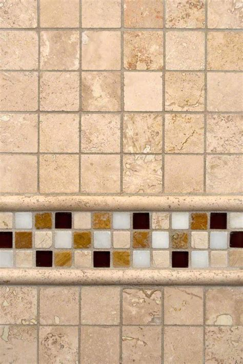 ivory travertine and glass border backsplash tile msi