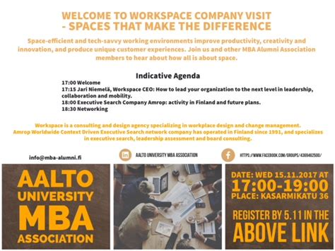 Aalto Mba Alumni Association by Workspace Company Visit On Wed 15 11 Aalto