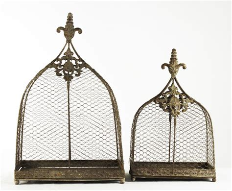 rustic wire decorative bird cages set of 2 kathy kuo home