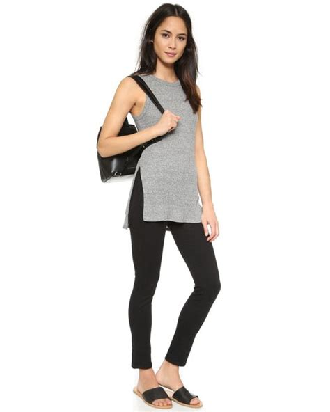 Dress Of The Day Costa Tunic by Enza Costa Ribbed Easy Sleeveless Tunic In Gray