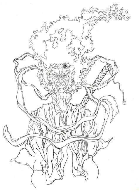 afro samurai tattoo final illustration to be used as a