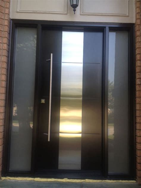 Steel Exterior Doors With Glass Modern Contemporary Front Entry Door Frosted Glass And Steel Plate Modern Exterior Front Door