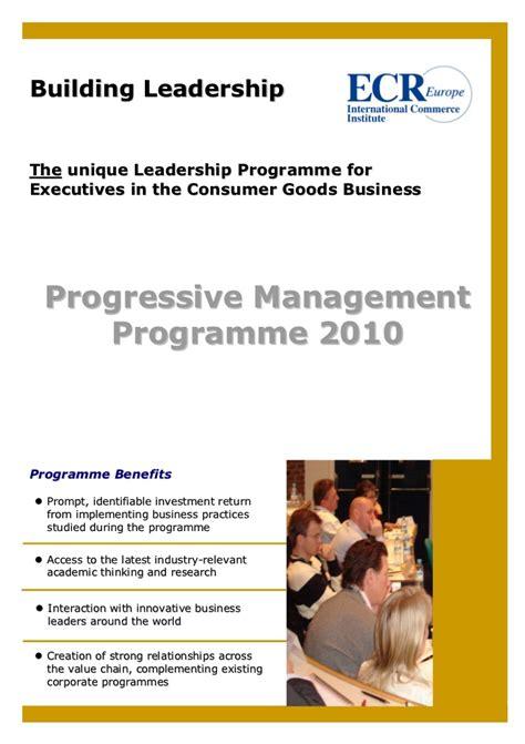 Europe Mba Leadership Program by Progressive Management Program By Ecr Europe Brochure 2010