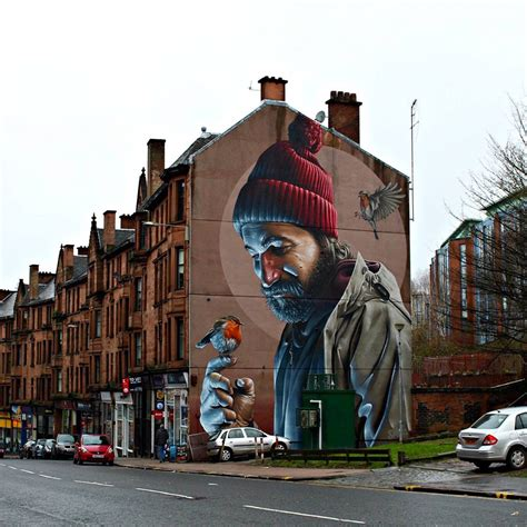 spray painter glasgow a photorealistic mural by smug on the streets of glasgow