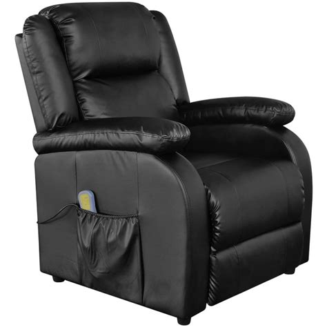 leather massage recliner chairs electric massage recliner chair artificial leather black