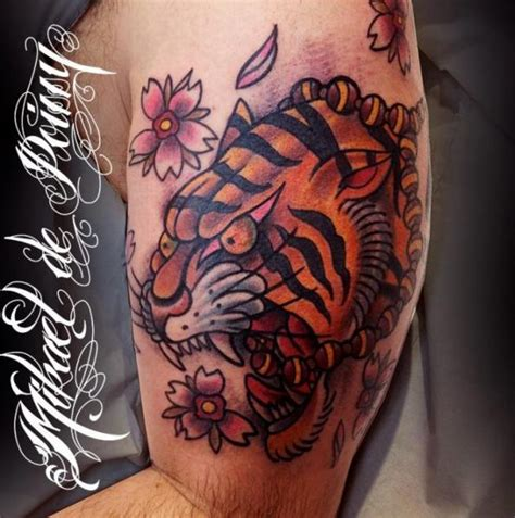 tattoo tiger new school arm new school tiger tattoo by mikael de poissy