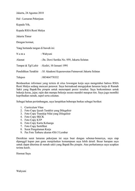 contoh surat lamaran kerja perawat di rumah sakit yang