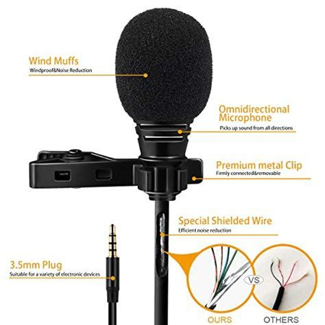 Lavalier Lapel Microphone 3.5mm Mic Pro Best for iPhone