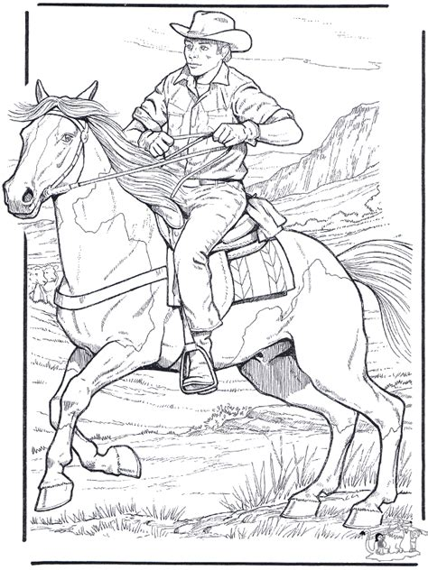 coloring pages of cowboys and horses cowboy and horses
