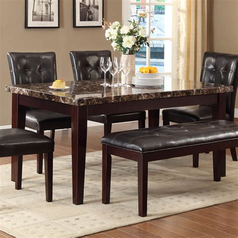 6 piece dining room sets homelegance teague 6 piece faux marble dining room set in