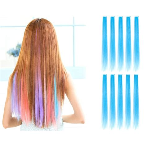 colored hair extensions clip in 23 quot colored highlight clip on in hair