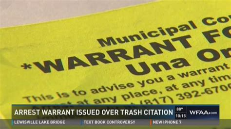 Tarrant County Warrants Search Arrest Warrant Issued Trash Citation Wfaa