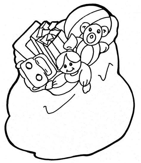santa bag coloring page toys and santa free colouring pages