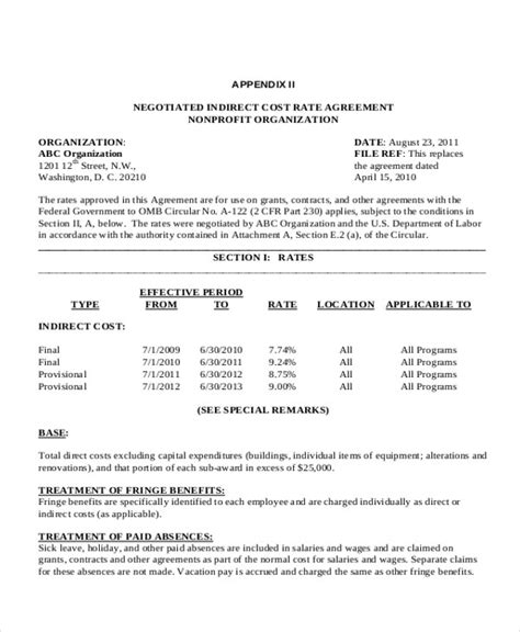 rate agreement template sle agreement for labour contract 7 exles in word