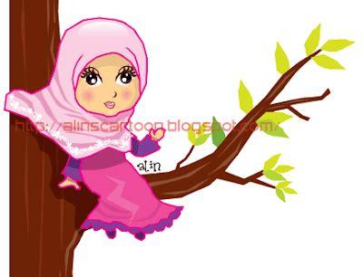 vector kartun muslimah  kak alin