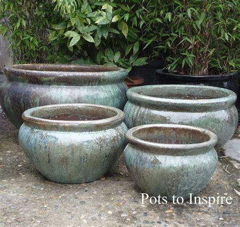 large opal green glazed low bowl planters garden pot