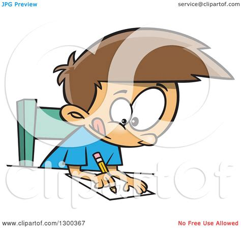 clipart of a cartoon focused brunette white boy writing at