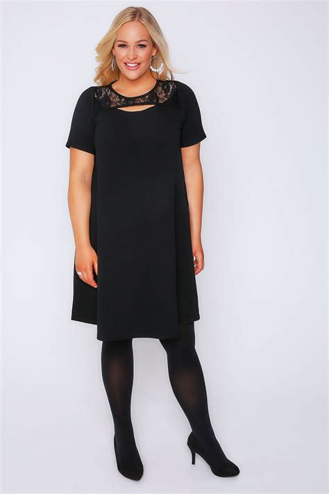 black swing dresses black swing dress with cut out neckline lace panel plus
