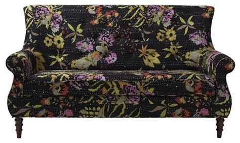black floral sofa black floral settee traditional loveseats by