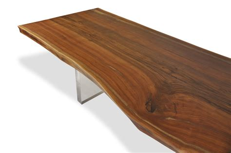 natural edge dining table natural edge walnut dining table lucite base