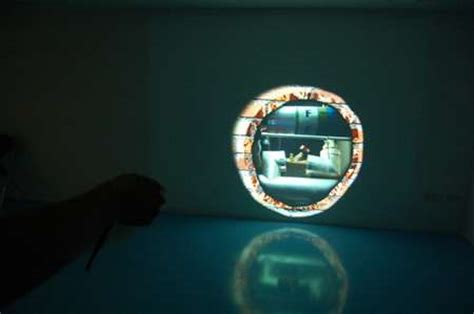 ray projection interactive installation lets
