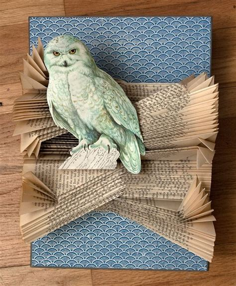 A Snowy Owl Papercraft Resting On My Laptop By - altered books book crafts