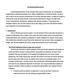 argumentative writing template exle of a argumentative essay