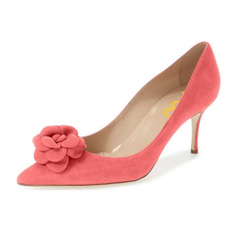 pink suede shoes pointy toe kitten heel pumps with flower