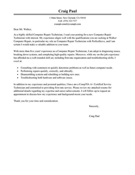Machine Technician Cover Letter by Best Computer Repair Technician Cover Letter Exles Livecareer