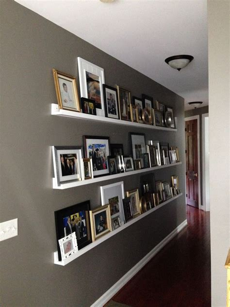 wall shelf ideas gallery wall for a long hallway photo ledge hallways