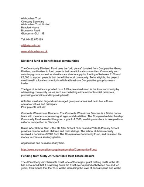 Introduction Letter Of Charitable Trust aug 2010 funding opportunities