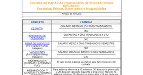 liquidacion prestaciones 2016 colombia f 211 rmulas para la liquidaci 211 n de prestaciones sociales docx