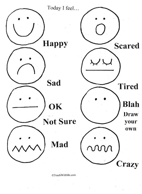 worksheets for preschoolers on emotions free worksheet emotion face coloring pages