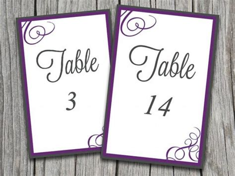table number templates for word instant download bordered flourish quot amy quot table number