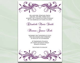 purple and silver reserved cards template lilac wedding invitation template diy purple silver gray