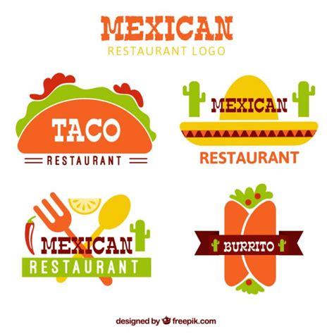 logotipos de cocina flat mexican food logotypes vector free