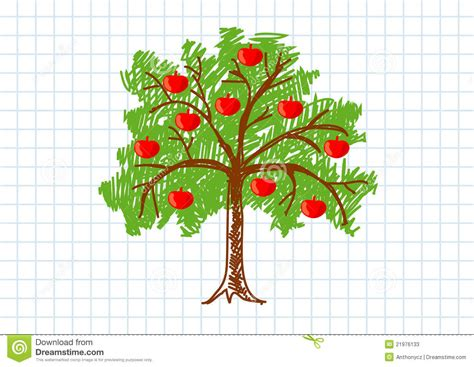 Drawing of apple tree stock vector image of green single 21976133