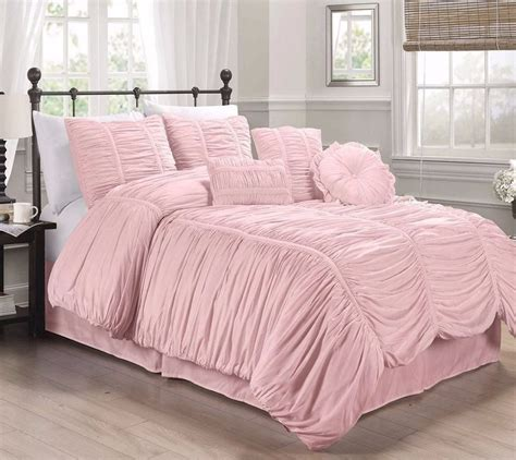 Ruffle Set 7 chezmoi collection 7pcs shabby chic ruched ruffle comforter set pink ebay