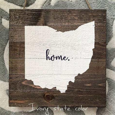 state home ohio state home rustic wood plank pallet sign by