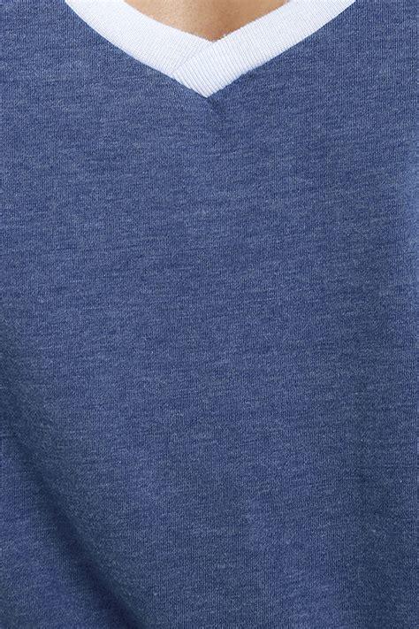light blue ringer light blue and denim blue burnout knit
