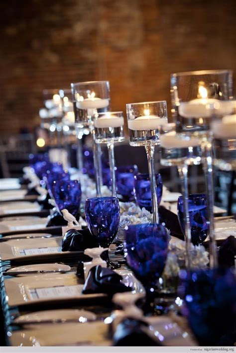 black blue and silver table settings gold pink lotus events